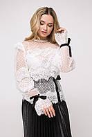 Романтичная женская блуза из сетки в горох и гипюра (Белив lzn)