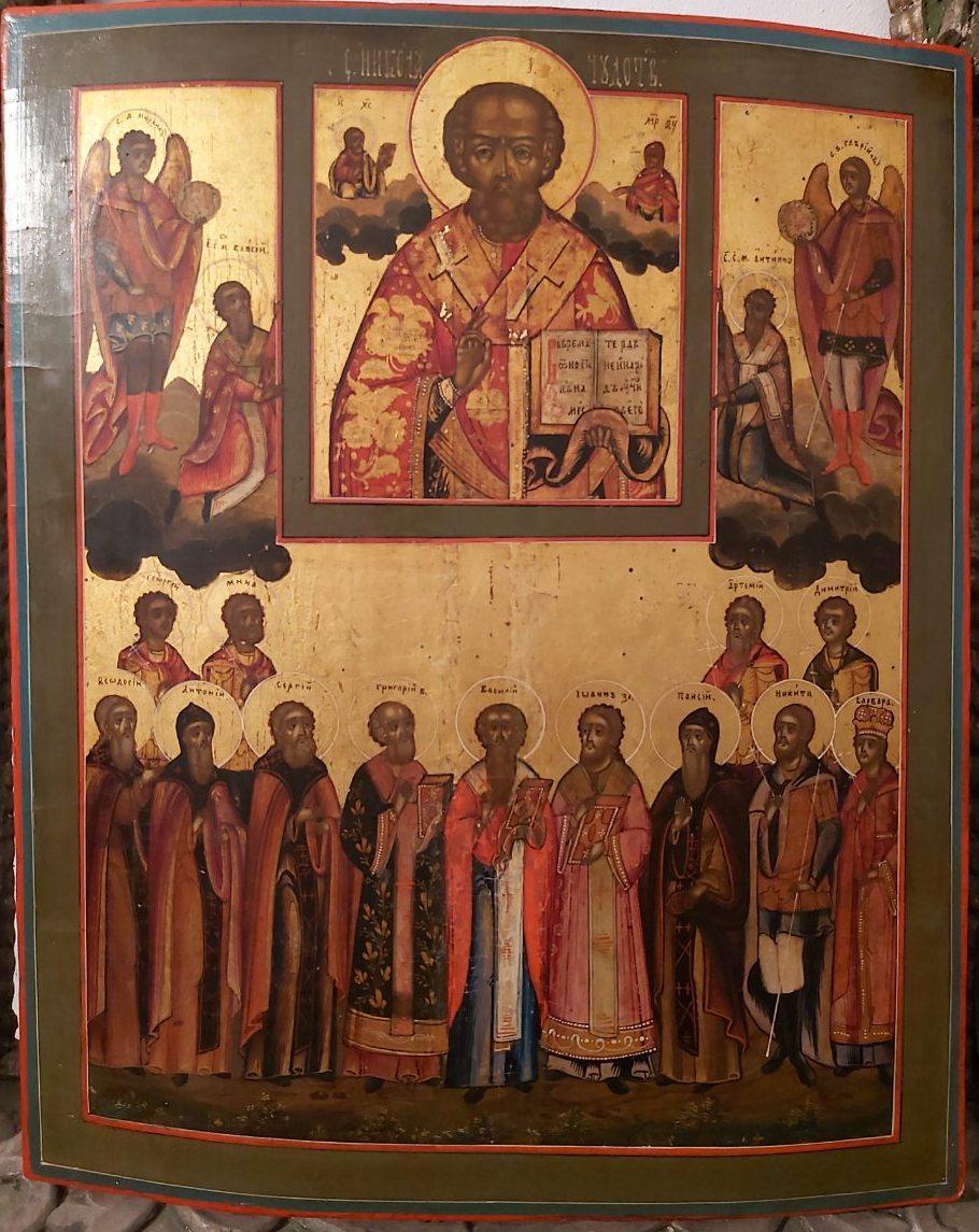 Икона Николай Чудотворец  с избранными святыми 19 век