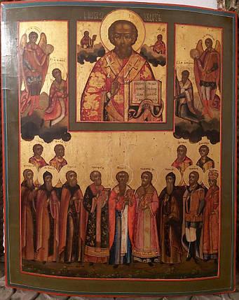Икона Николай Чудотворец  с избранными святыми 19 век, фото 2