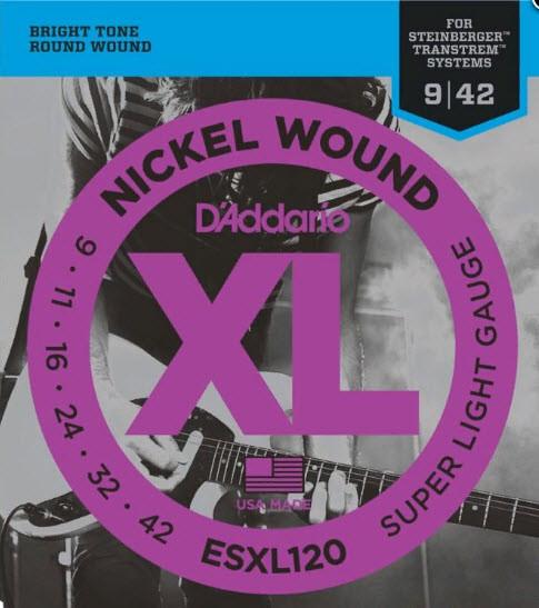 Струны для электрогитары D`ADDARIO ESXL120 XL Super Light Dpuble Ball End (09-42)