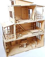 Кукольный домик с мебелью. Деревянный дом для кукол.