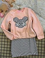 Красивое платье для девочки с принтом Микки Мауса, см. замеры в описании, фото 1