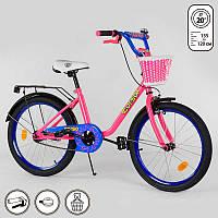"""Велосипед для девочек 20"""" дюймовый, 2-х колёсный  """"CORSO"""", ручной тормоз, корзинка, звоночек, подножка."""