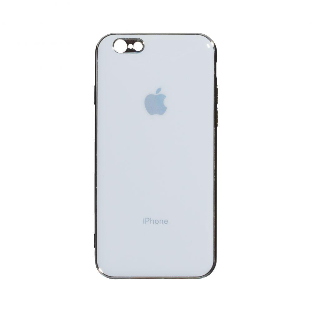 Чохол накладка на iPhone 6 / 6s Glass Silicone Case Logo White (Білий)