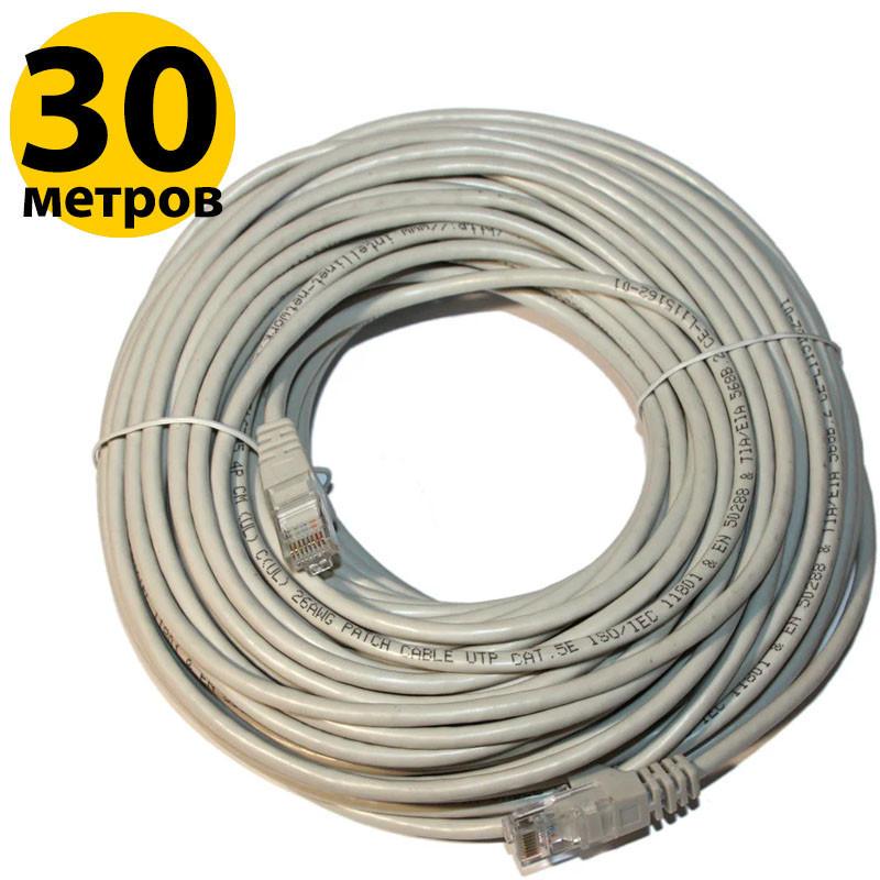 Патч-корд 30 м, UTP, Grey, Cablexpert, литой, RJ45, кат.5е, витая пара, сетевой кабель для интернета