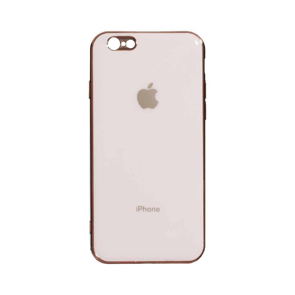 Чохол накладка на iPhone 6 / 6s Glass Silicone Case Logo Rose (Рожевий)