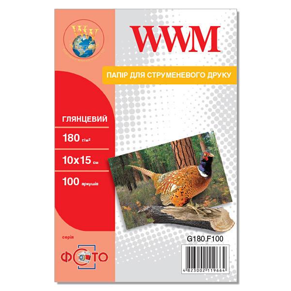 Фотобумага WWM, глянцевая, А6 (10х15), 180 г/м2, 100 листов (G180.F100)