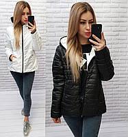 Двусторонняя короткая куртка больших размеров весна-осень, 2в1 белый/черный, арт 185
