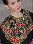 Вечерок 685-18, павлопосадский платок шерстяной с шерстяной бахромой, фото 3