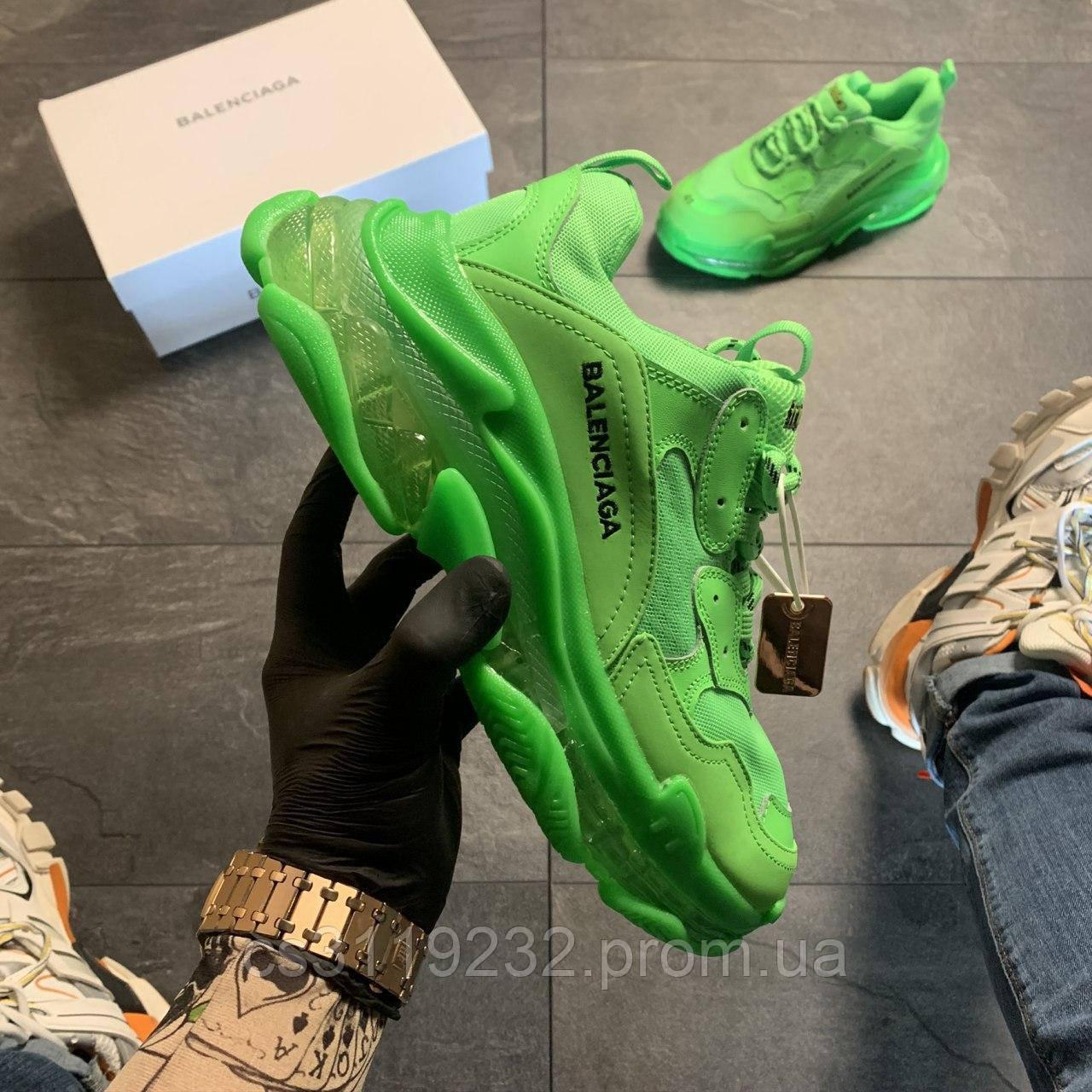 Мужские кроссовки Balenciaga Triple S Clear Sole Green Neon (зелёные)