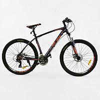 Велосипед Спортивный для детей CORSO ATLANTIS   BLACK-ORANGE рама алюминиевая, 24 скорости, собран на 75%