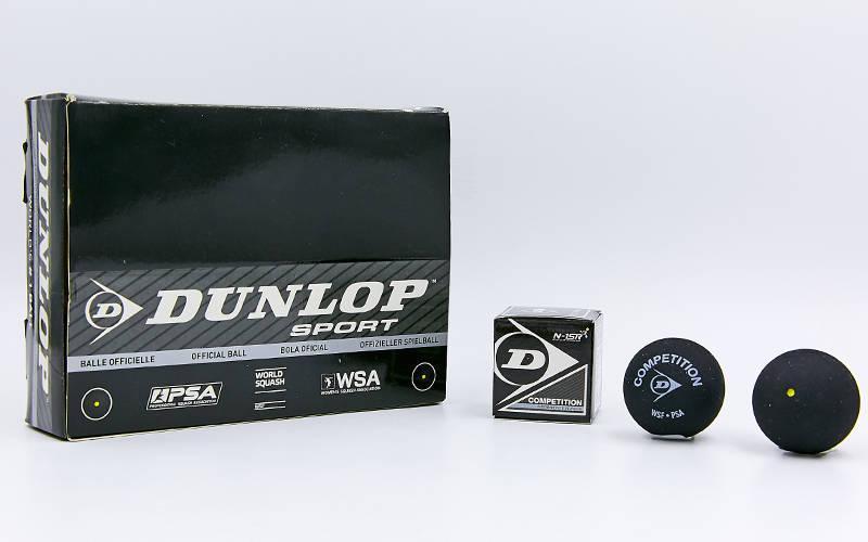 Мяч для сквоша DUNLOP (1шт) 700112 REV COMP XT SINGLE DOT (резина, черный)