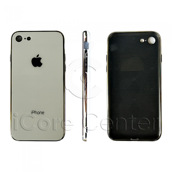 Чехол Glass Case logo White для iPhone 7 / 8