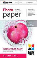 Фотобумага ColorWay, суперглянцевая, А4, 255 г/м2, 50 листов (PSG255050А4)