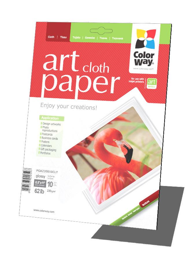 Фотобумага ColorWay 'Art', глянцевая, с тесненной фактурой имитации ткани, Letter (LT), 230 г/м2, 10 листов (PGA230010CLT)