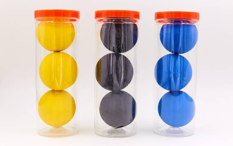 Мяч для сквоша, ракетбола (3шт) HT-6896 (резина, d-5,5см, упаковка-туба, цвета в ассортименте)