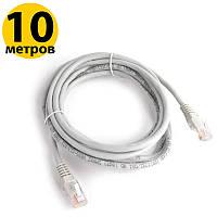 Патч-корд 10 м, UTP, Grey, ATcom, литой, RJ45, кат.5е, витая пара, сетевой кабель для интернета