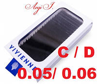 Ресницы Vivienne C/D 0.05/0.06. чёрные MIX. 20 линий