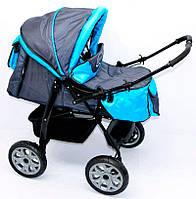 Коляска-трансформер для детей Viki емно-серый с голубым