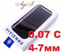 Ресницы Vivienne C 0.07. 4-7мм. чёрные MIX. 20 линий