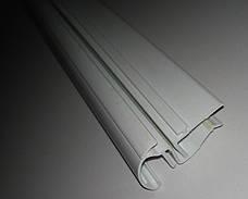 Ценникодержатель на стеклянные полки с С-образным профилем длина 100 мм. Профиль для стеклянных полок, фото 3