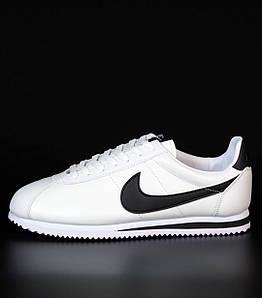 Мужские кроссовки Nike Cortez Basic Leather White/Black (Найк Кортез)