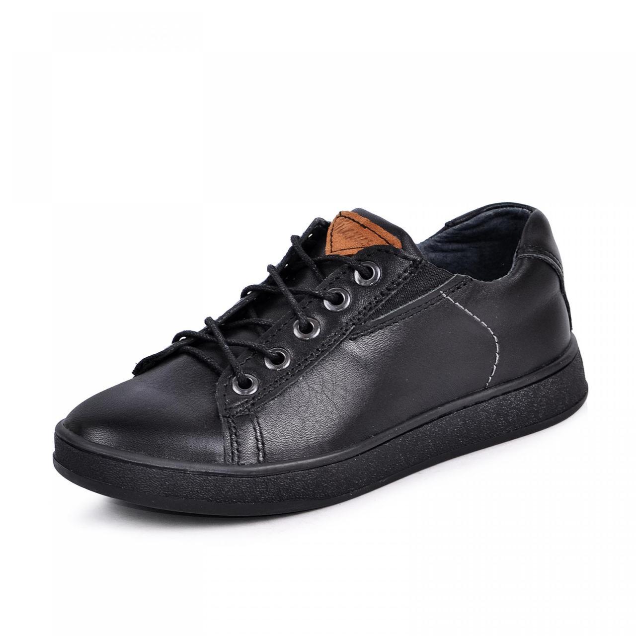 Підліткові і дитячі кросівки чорна натуральна шкіра р. 32 33 34 35 36 37 38 39