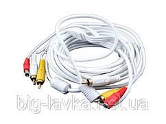 Кабель 2RCA+DC для відеореєстраторів Білий