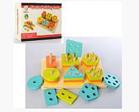 Деревянная игрушка Геометрика MD 2309 фигуры 36шт, в кор-ке, 23,5-16-6см