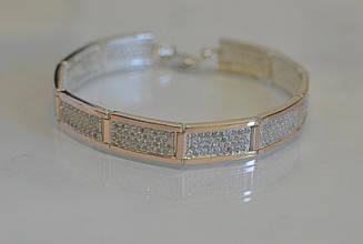Серебряный браслет с золотыми накладками Бр2