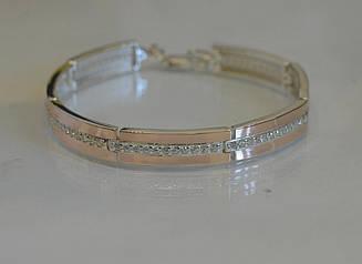 Серебряный браслет с накладками из золота Бр9
