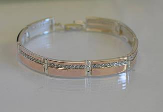 Серебряный браслет с золотыми вставками Бр11