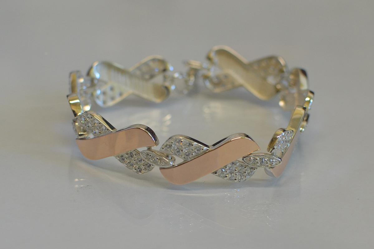 Серебряный браслет с накладками из золота Бр14