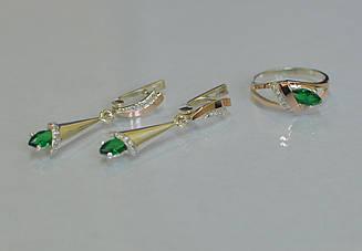Серебряный комплект украшений с золотыми накладками 050 15