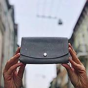 Кожаный клатч «Proza Gray» (2 card) женский Серый (17x10 см) ручной работы от pan Krepko