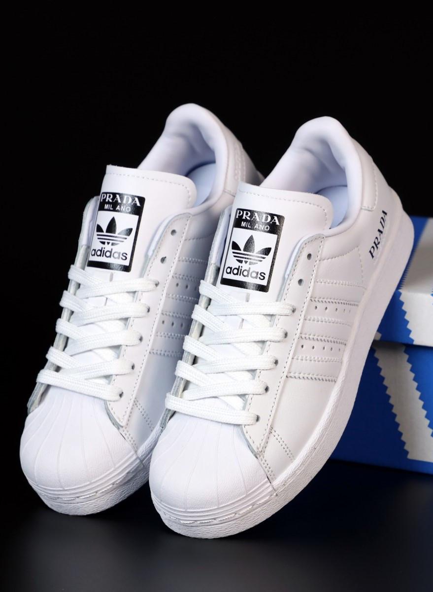 Женские кроссовки Adidas Superstar Prada White (Адидас Суперстар Прада белые)