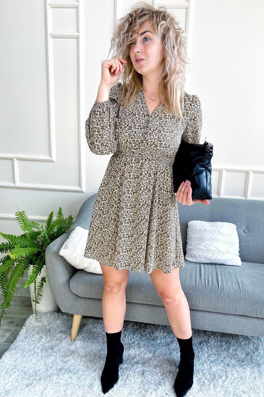 Утонченное шелковое платье с актуальным принтом M-D - кофейный цвет, S (есть размеры)