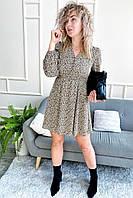 Утонченное шелковое платье с актуальным принтом M-D - кофейный цвет, S (есть размеры), фото 1