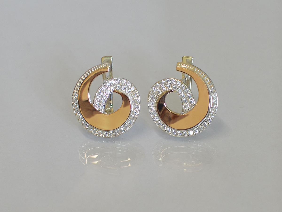 Серебряные серьги с золотыми напайками 095с