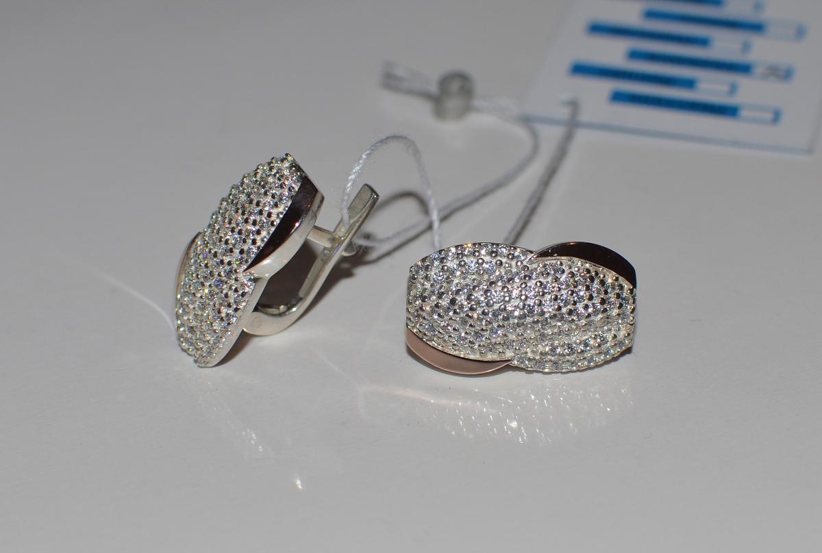 Серебряные серьги с золотыми накладками 068с