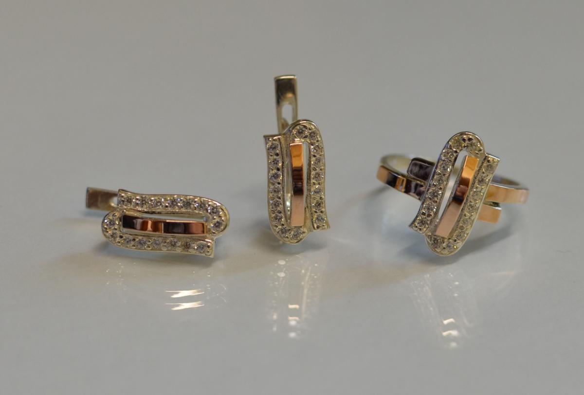 Серебряный набор украшений со вставками из золота 006 15