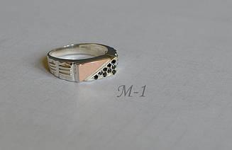 Серебряная печатка с пластинами из золота М 1 18