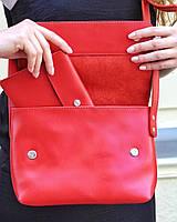 Кожаная сумка кросс-боди «Cross Red» женская красная (25x19 см) с косметичкой ручной работы от pan Krepko