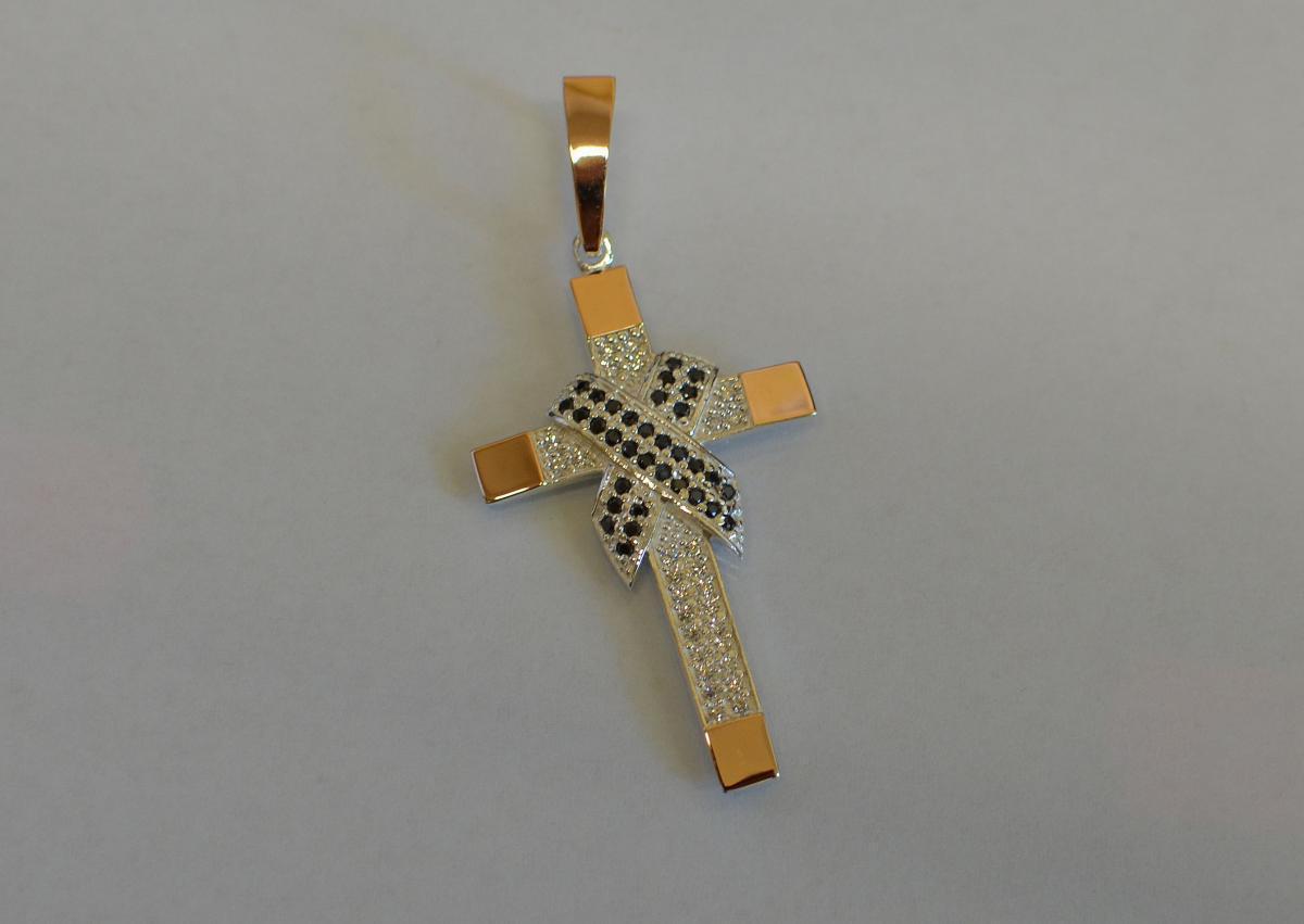Мужской крест серебро с золотом к-6