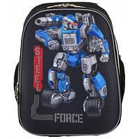 Школьный ранец 1 Вересня H-12 Steel Force для мальчика 38х29х15 см Черный (555950)