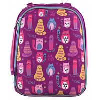 Школьный ранец 1 Вересня H-12 Cute cats для девочки 38х29х15 см Фиолетовый (556024)