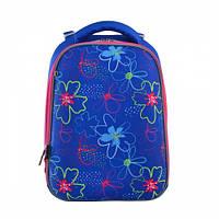 Ранец для школы 1 Вересня H-12 Vivid flowers для девочки 38х29х15 см Синий (556038)