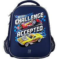 Рюкзак школьный ортопедический (ранец) синий для мальчиков Kite Education Hot Wheels для начальной школы