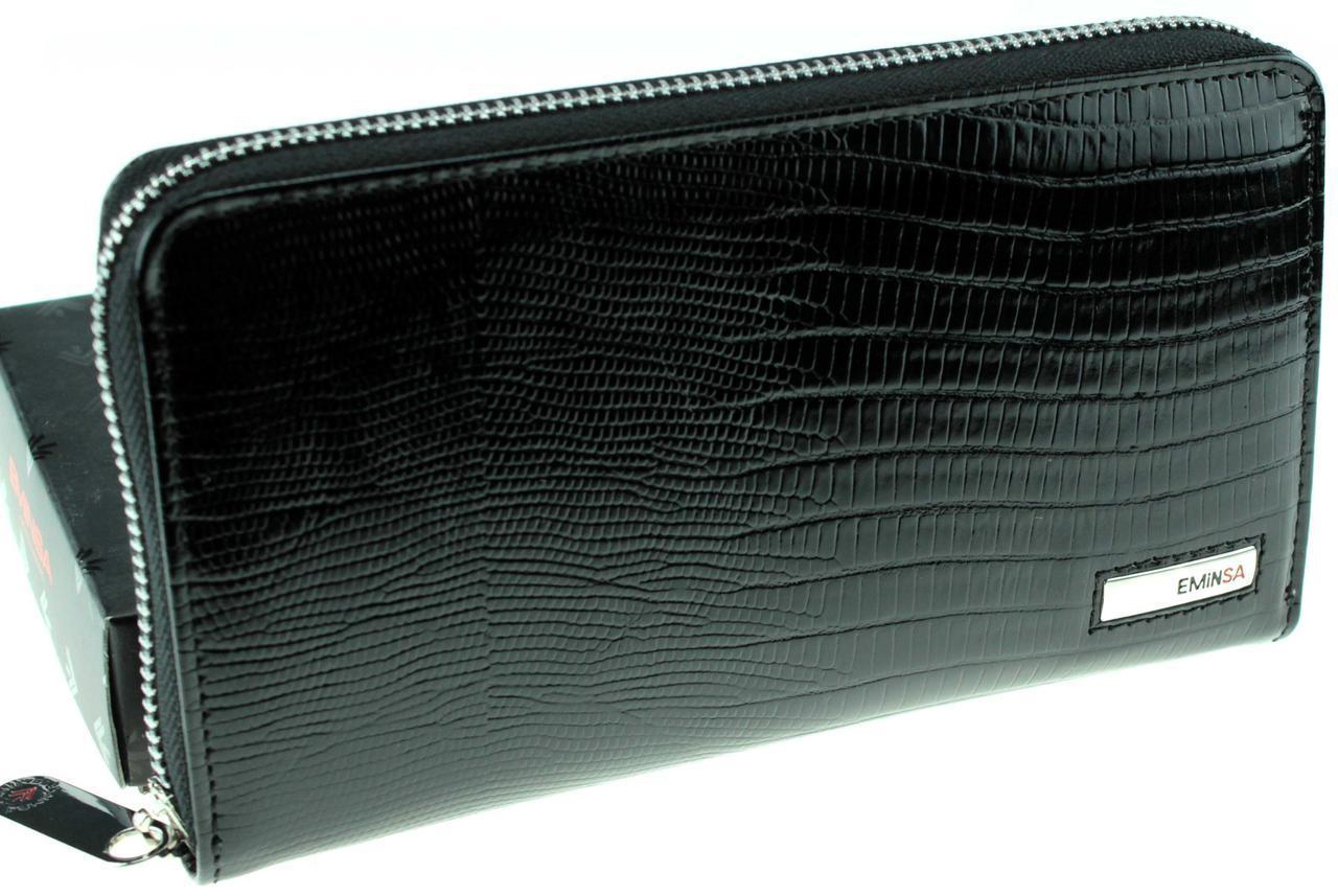 Кожаный женский кошелек на молнии Eminsa 2069-5-1 черный