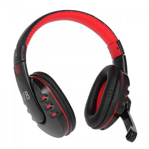 Беспроводные Bluetooth Наушники V8 Built-In Mic Черные С Красным (91447) (Sf)